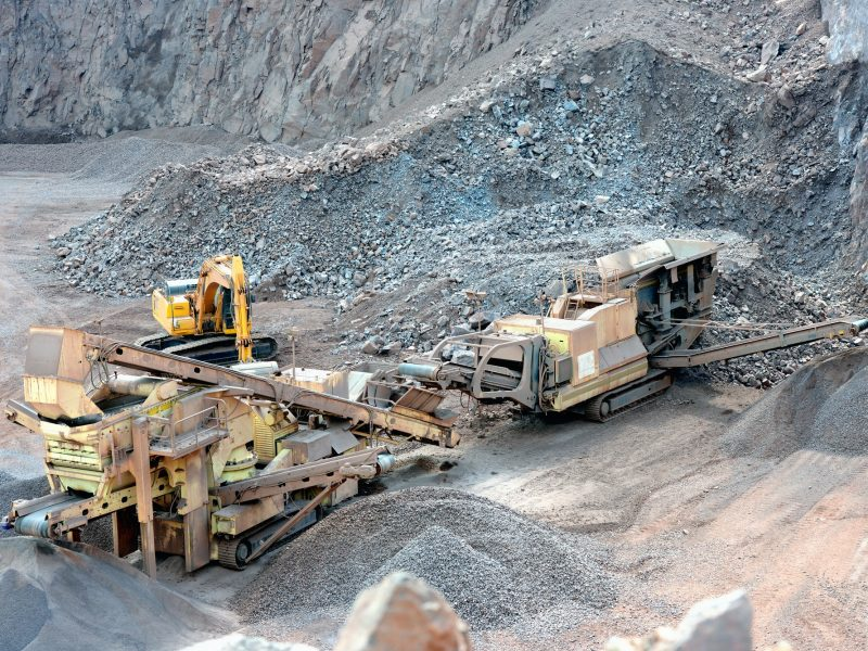 stone crusher in a surface mine. Open pit mine. Quarry